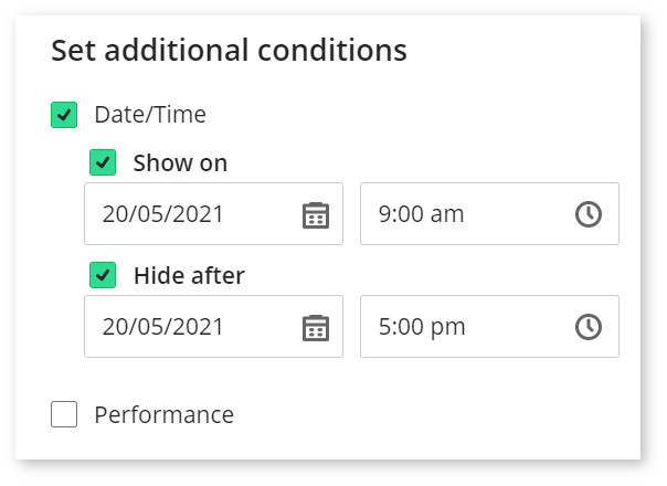 Image shows a screenshot of setting the Date/Time condition. Second step - 'Hide after' box ticked and date and time specified..