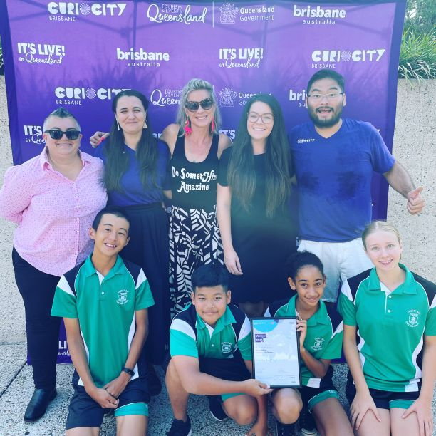 Staff and students from Trinity Bay High School at the Brisbane Festival
