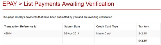 Screenshot showing example of a payment which is waiting for verification.
