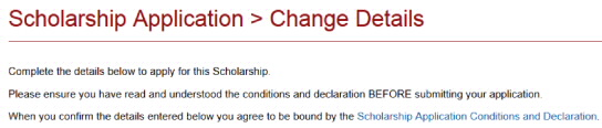 Screenshot showing Scholarship Application Conditions and Declaration link.
