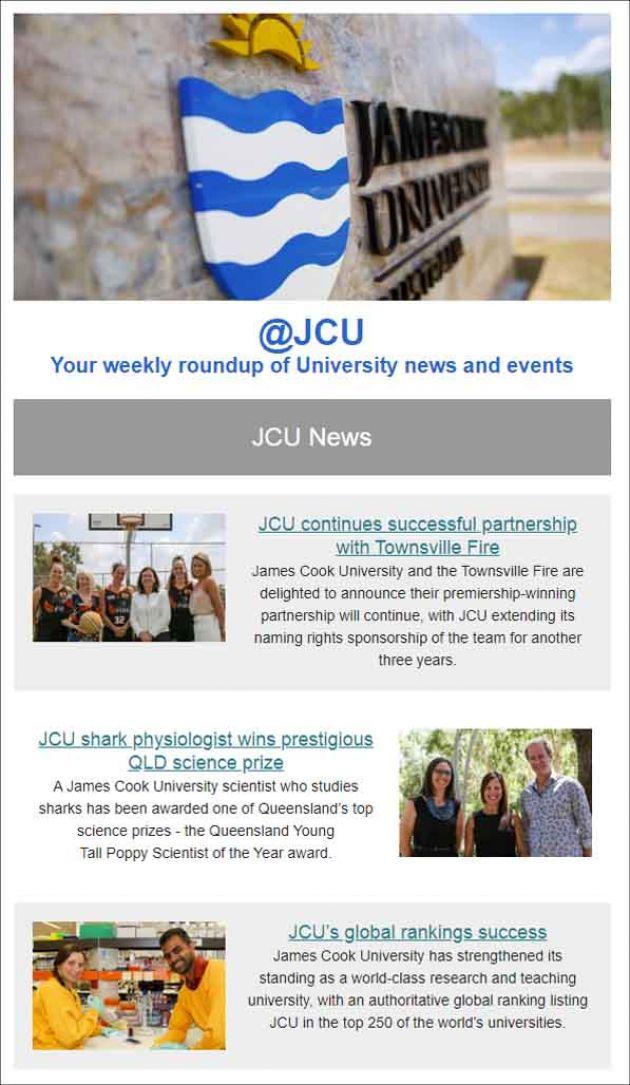 Screengrab of an @JCU newsletter