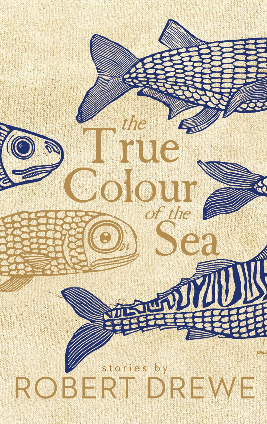 the book's cover, showing blue and gold illustrations of fish