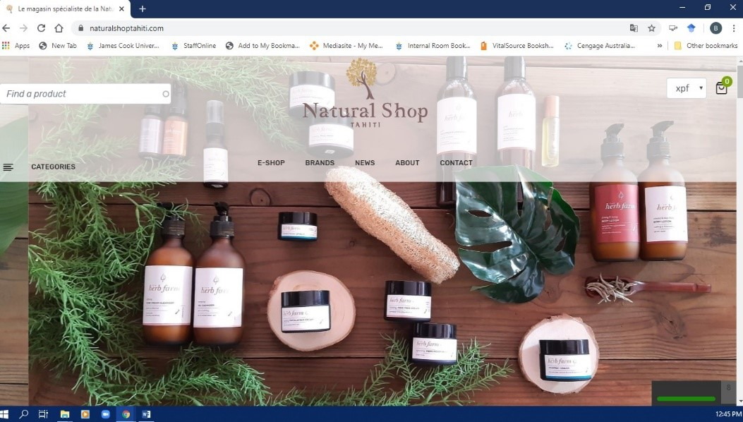 Organic products from Tahiti website
