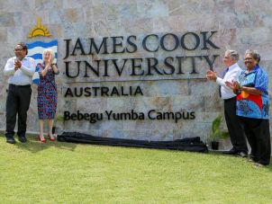 Prof Martin Nakata, Prof Sandra Harding, Bill Tweddell, Dorothy Savage at the unveiling in Townsville