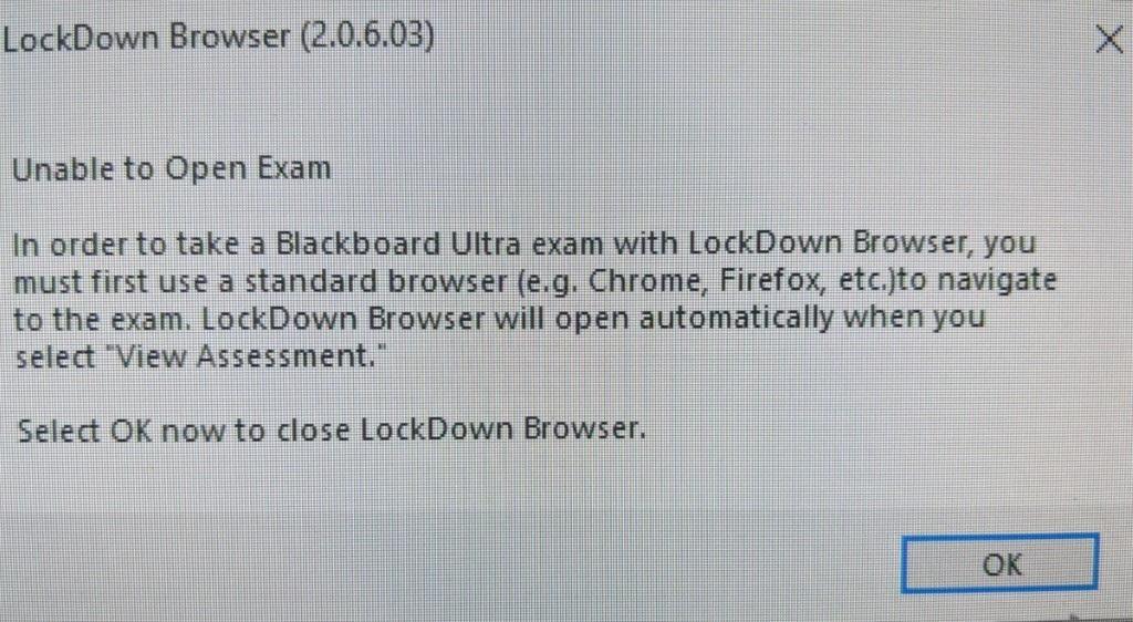 unable to open exam error message.