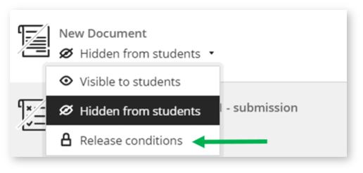 Image shows a screenshot of where the 'Release Conditions' settings can be accessed from