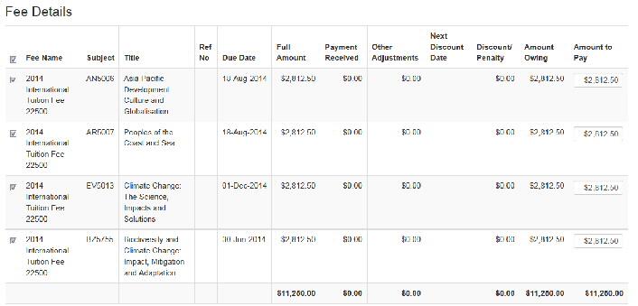 Screenshot showing fee details.