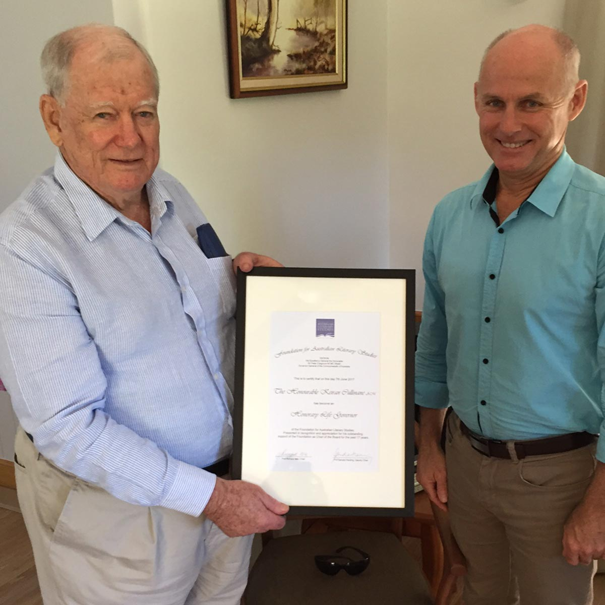 The Hon Kieran Cullinane receiving Life Governors certificate with Foundation Chair