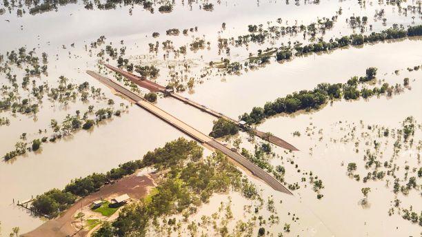 Flooded roads in Karumba