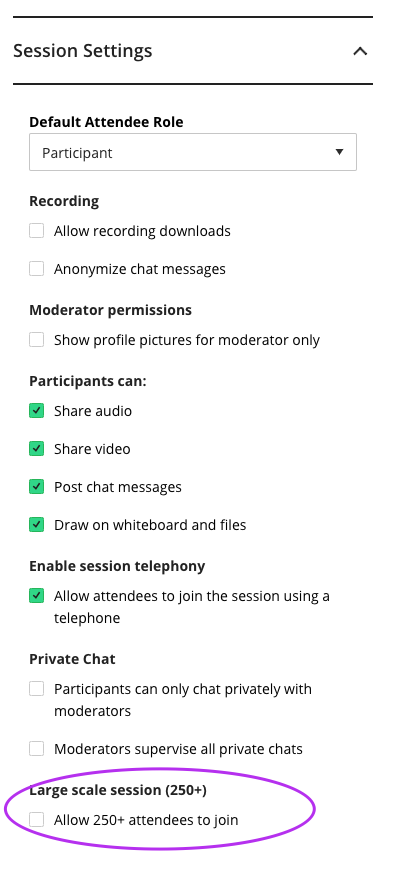 screenshot of collaborate session settings.
