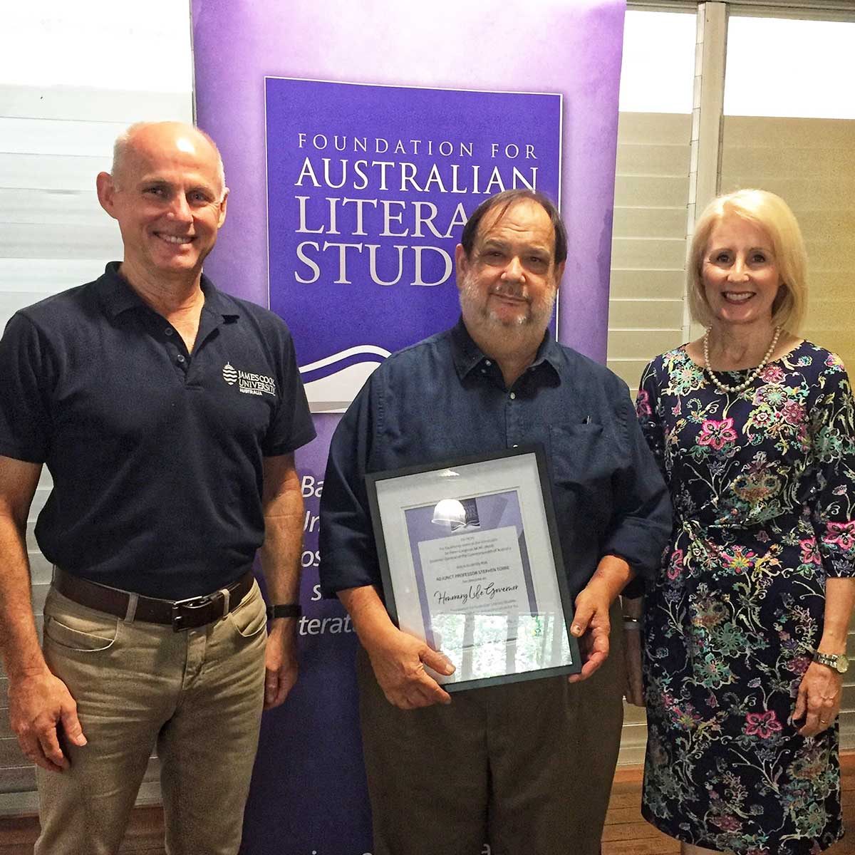 Adjunct Prof Stephen Torre receiving Life Governor certificate with Prof Richard Nile, Foundation Chair and Prof Sandra Harding, Foundation Deputy Chair
