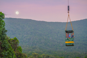 Crane gondola and moon