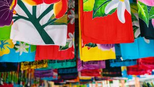 Colourful sarongs on sale