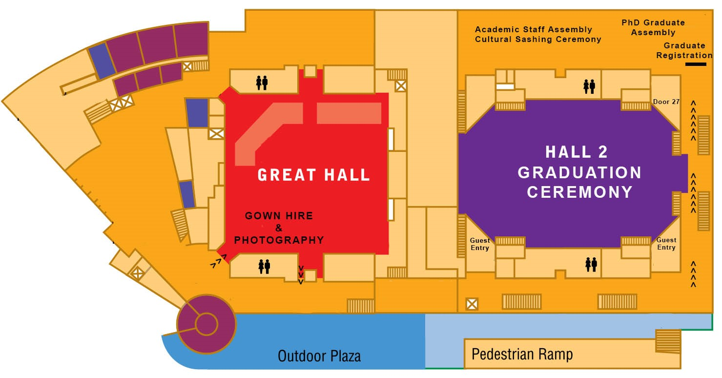 Map of Cairns Convention Centre Great Hall and Hall 2. Contact JCU Student Centre Carins on (07) 4232 1000 or freecall (within Australia) 1800 246 446 if you need assistance.