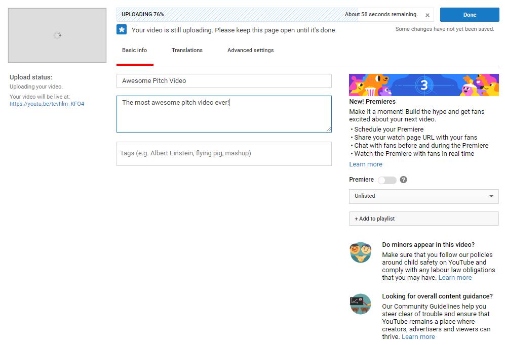 YouTube upload screen
