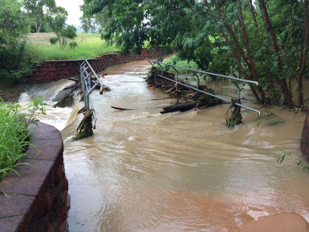 a bridge under flood water