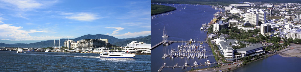 Two photos of the Cairns waterfront