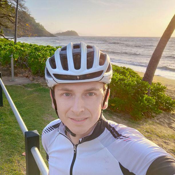 Lachlan riding at sunrise