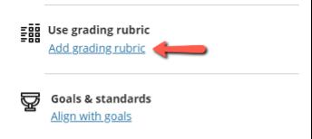 Screenshot of where to find 'Add grading rubric