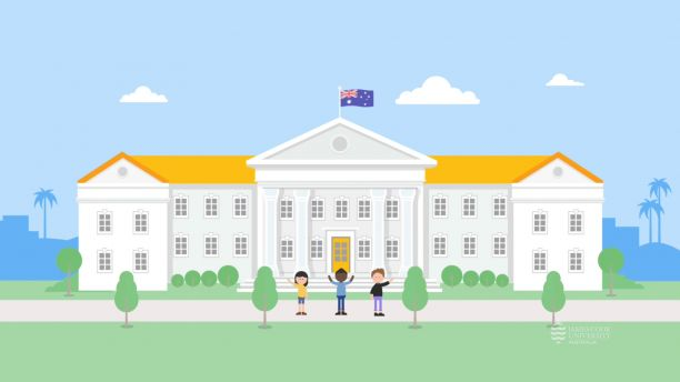 An animation of an Australian university with students standing out the front.