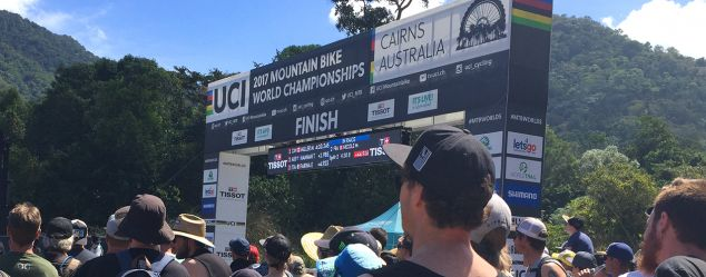 The finish line at the UCI MTB World Championships