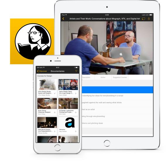 Example of the Lynda.com app