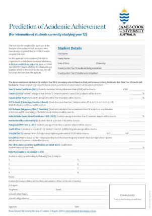 Prediction of Academic Achievement Form image