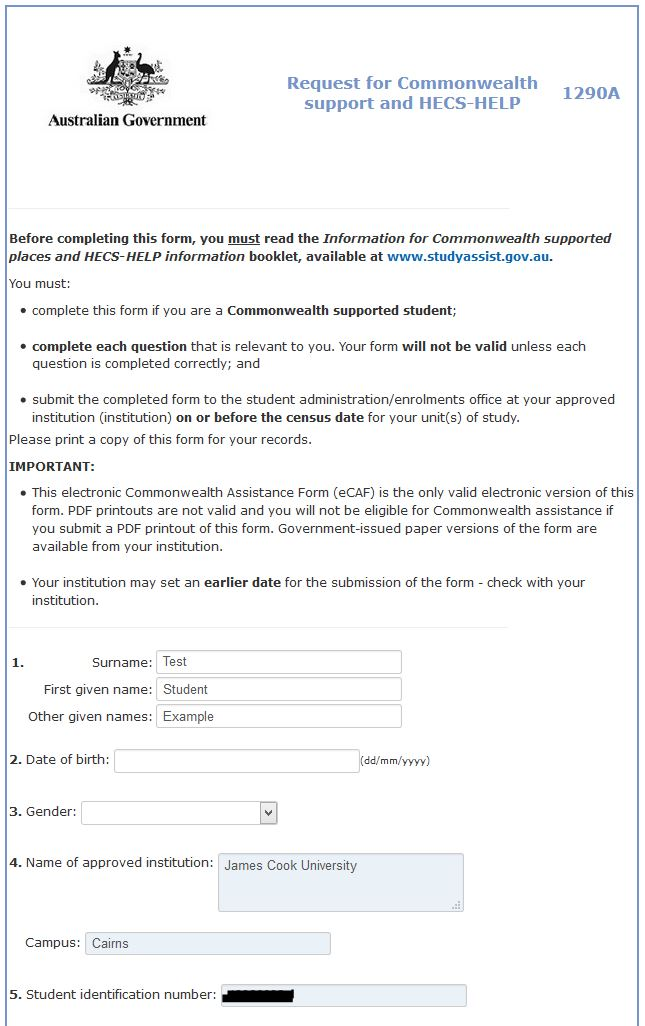 Example Request for Commonwealth support and HECs-Help form