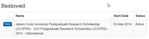 Screenshot showing scholarships bestowed table.