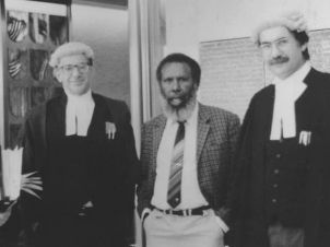 Barrister Ron Castan, Eddie Mabo and barrister Bryan Keon-Cohen at the High Court of Australia 1991.
