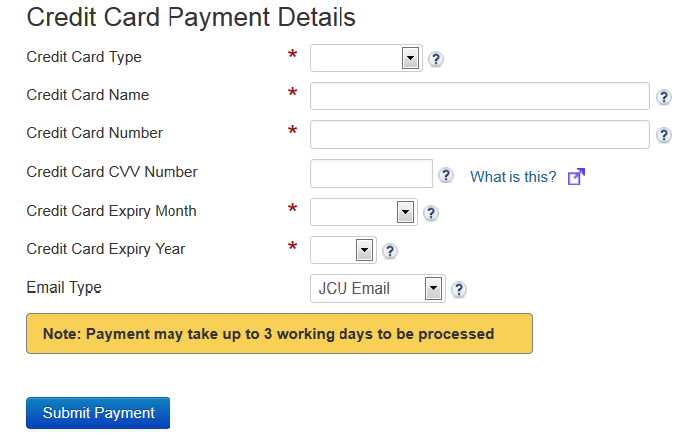 Screenshot showing credit card payment fields, a note Payment may take up to 3 working days to be processed and the Submit Payment button.