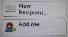 Use New Recipient or Add Me