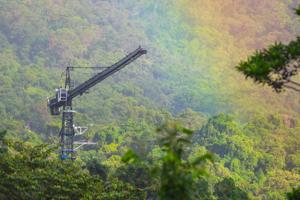 Canopy crane and rainbow