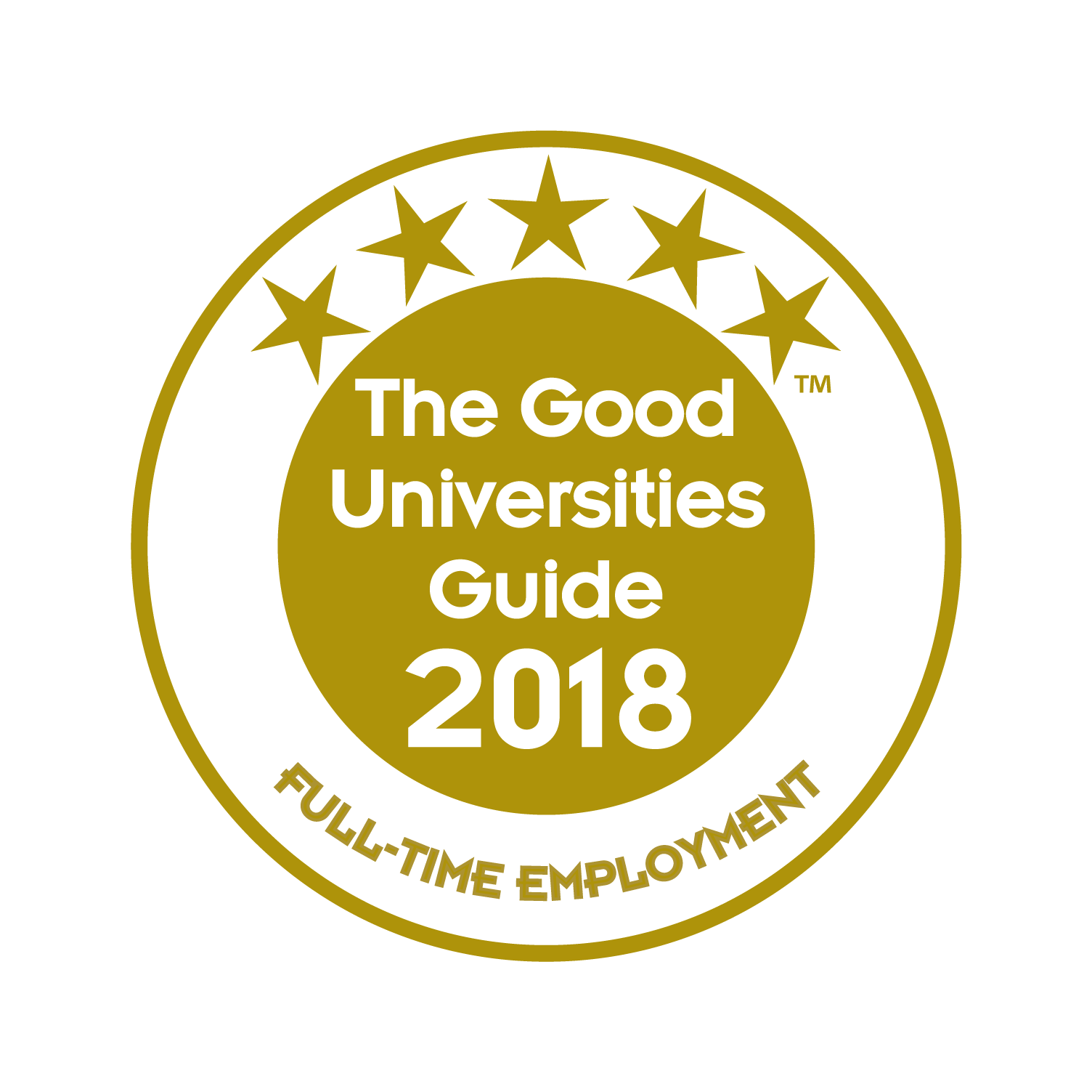 Good universities guide badge for five stars for full time employment.