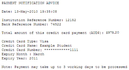 An example of a Payment Notification Advice.