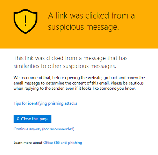 message when a suspicious email link is clicked on