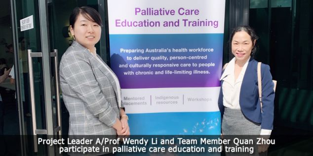 Wendy Li and Quan Zhou participating in palliative care education and training.
