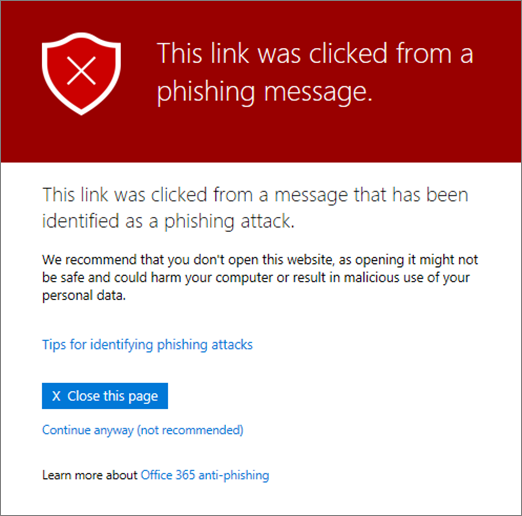message when a link is identified as phishing