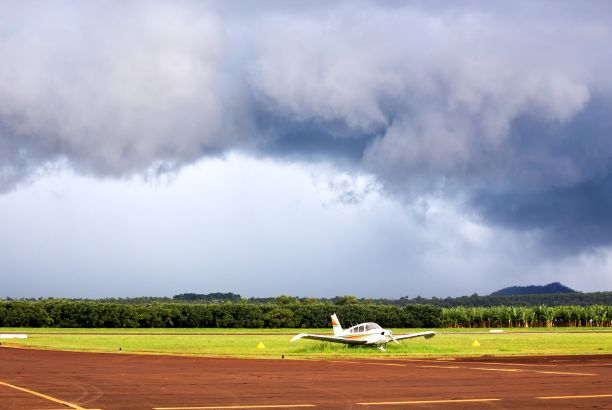 Airplane on a rural airstrip